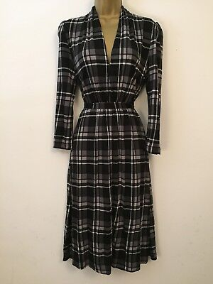 French Connection Size 12 Gorgeous Check Print Vintage Style Tea Dress 2763