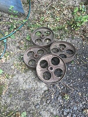 4 Cast Vintage Cast Iron Wheels