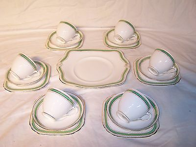 Vintage Tuscan China Plant England Tea Coffee Set Tea Cup 7 Saucer Trio