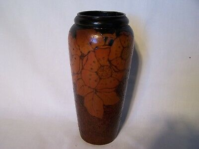 Vintage Antique Pokerwork Vase Woodenware  Flowers Poker Work Wood Ware