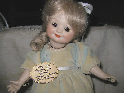 """Reproduction Porcelain 13"""" Googlie Doll With Hand Made Outfit Incl Boots"""