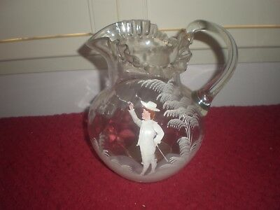 Mary Gregory Large Clear Glass Jug