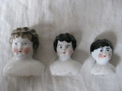 3 Tiny China Head Dolls Heads- Antique Porcelain