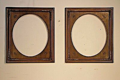 Pair large carved antique walnut painted picture mirror frames French provincial