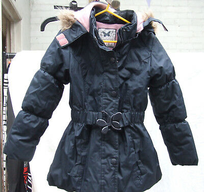 Gorgeous Sweet Millie Padded Navy Coat Faux Fur Pink Interior Girl Girls Age 7