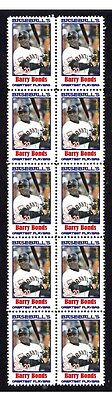 Barry Bonds Baseballs Greats Strip Of 10 Mint Stamps