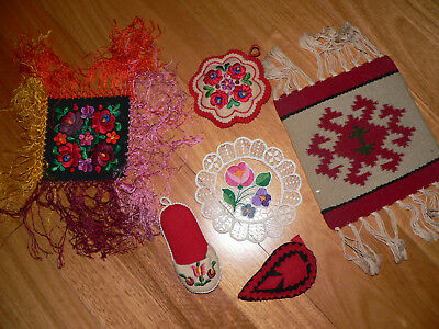 6 vintage Hungarian embroidered doilies/pincushions