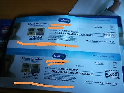 Enfamil coupons (2) $5 off. $10 total expire 8/31/18!!