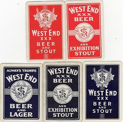 """5 x RARE VINTAGE """"West End Beers/Ales"""" SINGLE Playing Cards"""