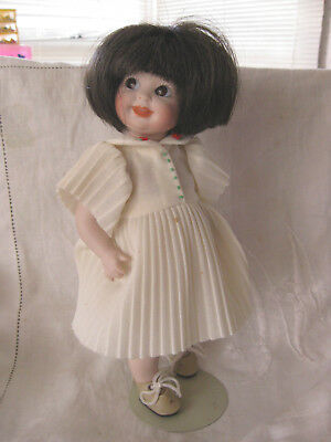 Reproduction Porcelain Happy Googlie Doll With Hand Made Outfit-Cabinet Size