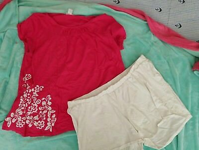 Motherhood Maternity Hot Pink Shirt and White Shorts 2 Piece Outfit Size XL Pre