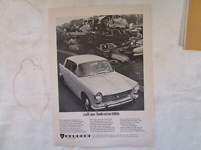 Two 1965 Peugeot Original Print Advertisements from Feb. and May 1965