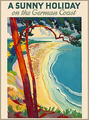 A Sunny Holiday on The German Coast Germany Vintage Travel Advertisement Poster