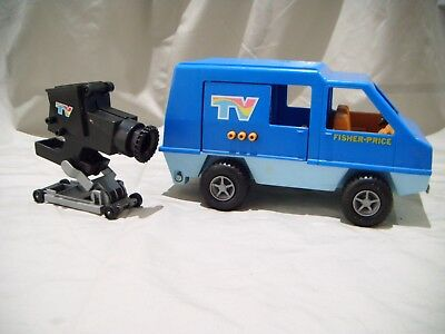 Vintage Fisher Price Adventure People Mobile Tv Van With Camera 1977 Made Usa