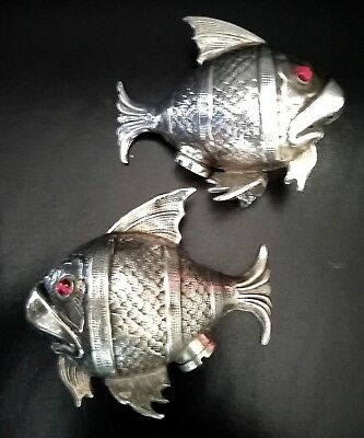 Due Pesci Sale Pepe Argento 800 Solid Silver Vintage Fish Salt & Pepper Shakers