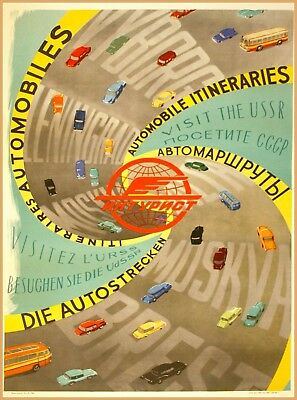 Visit the USSR Automobile Itineraries Russia Vintage Travel  Art Poster Print