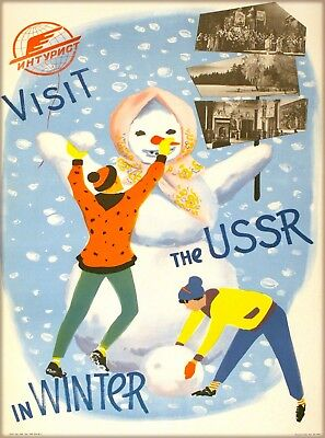 Visit the USSR in Winter Russia Vintage Russian Travel  Art Poster Print