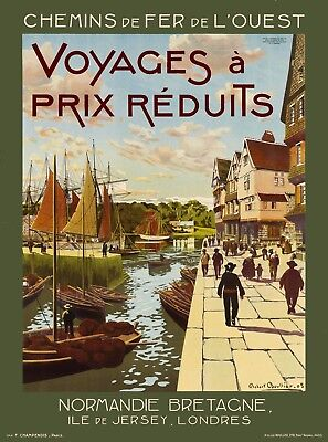 Normandie Bretagne Brittany France French Travel Advertisement Art Poster Print