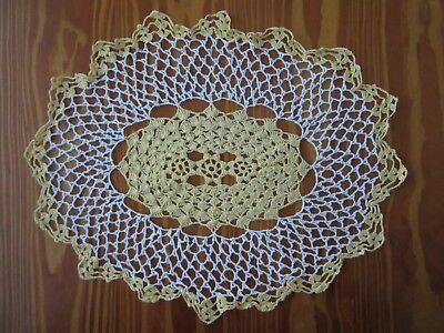 Vintage Yellow & White Hand Crocheted Doily
