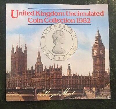 1982 & 1983 Uncirculated U.K. Coin Set United Kingdom 1/2 1 2 5 10 20 50 Pence