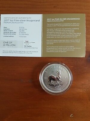 South Africa 2017 Fine Silver Krugerrand 1oz Coin in Capsule With COA