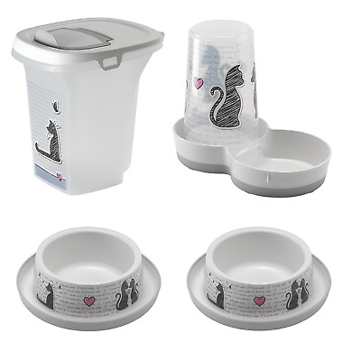 Pet Food or Water Dispenser, Cat Bowls and Food Container Bundle | Cats in Love