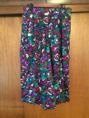 Vintage Women's Lee David Floral Purple Wide Leg Culotte Pants 15/16