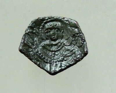 LATIN EMPIRE of Constantinople. 1204-1261AE Trachy  16mm Virgin Mary / Christ