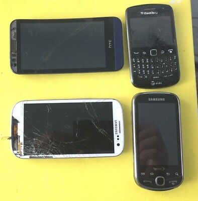 LOT 4 CELL PHONES SMARTPHONES SAMSUNG GALAXY  HTC blackberry repair or FOR PARTS