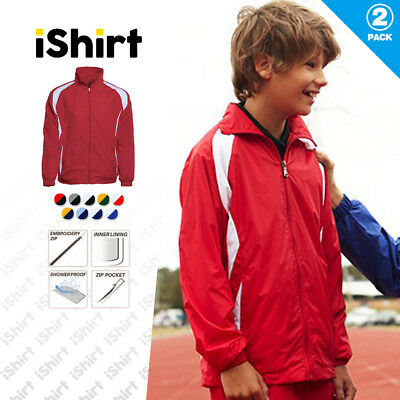 2Pcxkids Jacket 100% Polyester Shower Proof Full Zip Sport Training Track Jacket