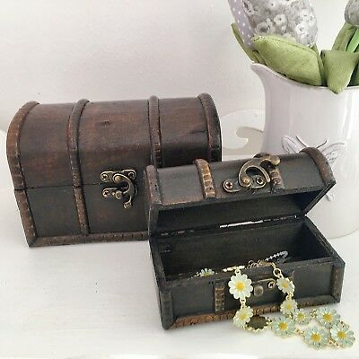 Set 2 Shabby Vintage Chic Pirate Chest Jewellery Trinket Box Storage Crates Gift