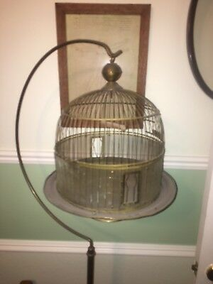 Vintage Antique Brass Hendryx Art Deco Dome Hanging Bird Cage with stand