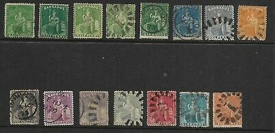 15 Early Victorian Barbados Stamps, Half Penny to One Shilling