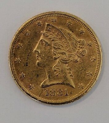 1881 $5 (Five Dollar) Liberty Head Gold Coin * Half Eagle * FREE SHIPPING