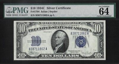 "1934-C $10 Silver Certificate PMG Choice Uncirculated 64 ""Great Embossing"""