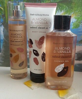bath and body works almond & vanilla shower gel body cream fine fragrance mist