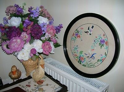 Large Antique Ebonized Hand Embroidered Picture On Linen
