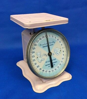 Vintage American Family Scale 30 Lbs Pink Nursery Household Baby
