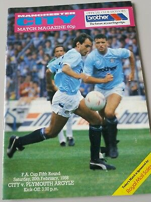Manchester city v Plymouth argyle fa cup 5th rd 20/2/1988