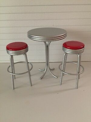 Dollhouse Miniatures Cafe Table with Two Red Stools, New, 1:12