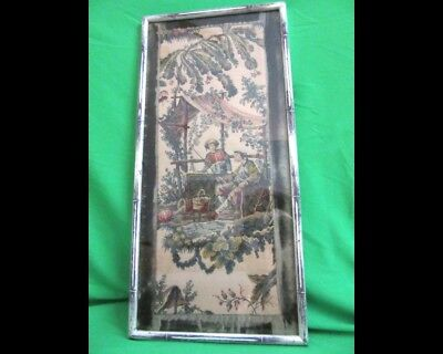Antique European Tapestry Chinoiserie Man Woman Verdant Landscape Framed