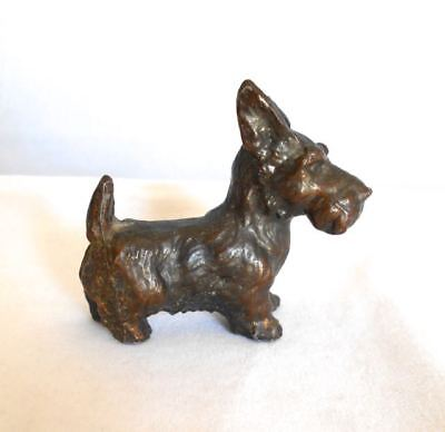 Old Copper Bronze Clad Scottie Terrier Dog Metal Figurine Personality PLUS 1940s