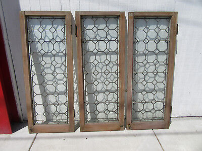 ~ Set Of 3 Antique Stained Leaded Glass Casement Windows ~ 21 X 53 ~ Salvage ~