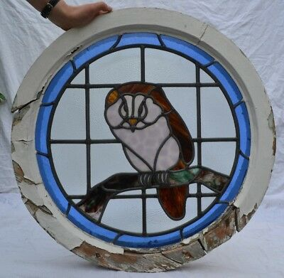 1950s round leaded light stained glass window owl. R779. WORLDWIDE SHIPPING!!!