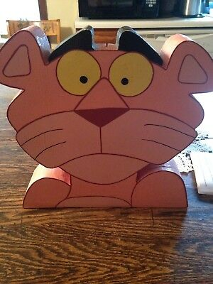Pink Panther Wood Carved Bank Very Rare