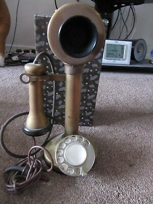 Brass Candlestick Telephone With Bakelite & Number Dial