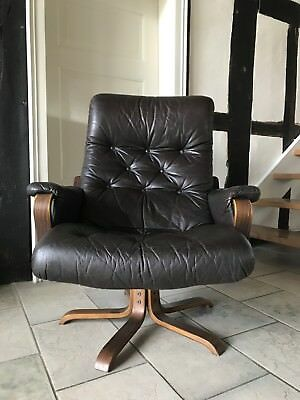 Lounge Chair Vintage Leder Dreh Sessel Danish Design 60 Er