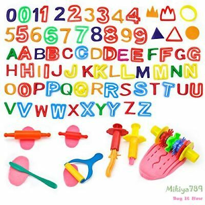 42Pcs Colorful Letters and Numbers Tool Pack w/ Cutter Molds + 2 Dough Extruders