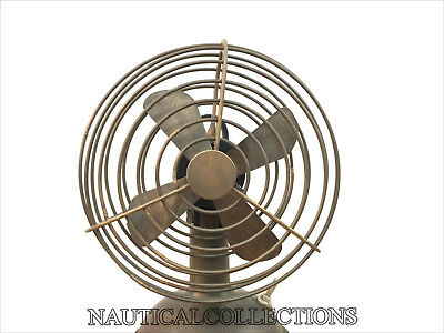 Decorative Mini Vintage Style Collectible Brass Brown Antique Working Table Fan