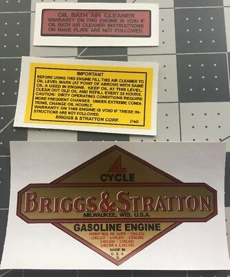 Briggs & Stratton old repro 1949 - 62 engine & B&S Oil Bath decal set of 3